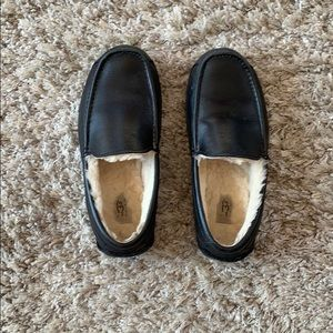 UGG Black Leather Slippers